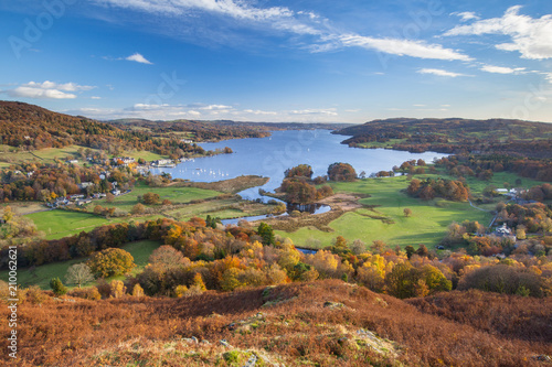 Fotografie, Obraz View of Windermere in the English Lake District, from Todd Crag, on a sunny autumn day