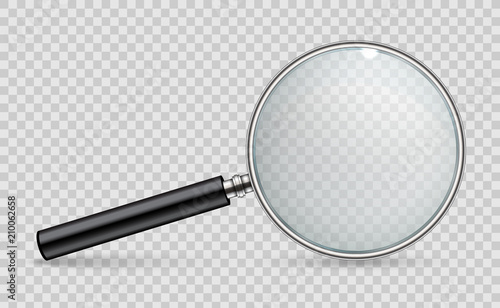 Fototapeta Creative vector illustration of realistic magnifying glass isolated on transparent background. Art design search, inspection symbol. Abstract concept magnifier zoom, tool with hand lens element obraz