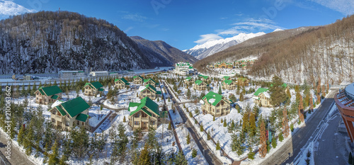 Photo SOCHI, RUSSIA-JANUARY 3, 2017: Cottages in the ski resort Gazprom