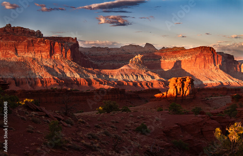 Glorious sunset on the rock formations of Capitol Reef National Park in Utah , USA Canvas Print