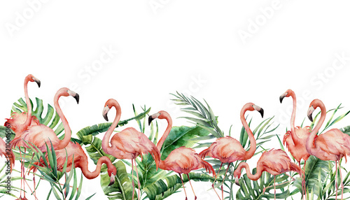 Fotografia Watercolor tropical seamless border with flamingo and exotic leaves
