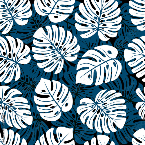 Foto op Canvas Kunstmatig Leaves of palm, monstera. Jungle seamless pattern. Use on fake wallpapers, textiles, in the interior