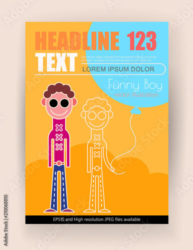 Tuinposter Abstractie Art Funny Boys vector poster design