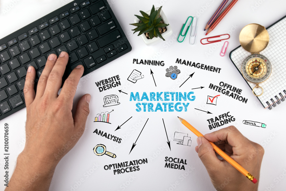 Fototapeta marketing strategy Concept. Chart with keywords and icons. hands on working desk doing business