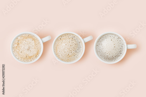 Fotografia, Obraz  Set of Coffee cups assortment on pale pink background