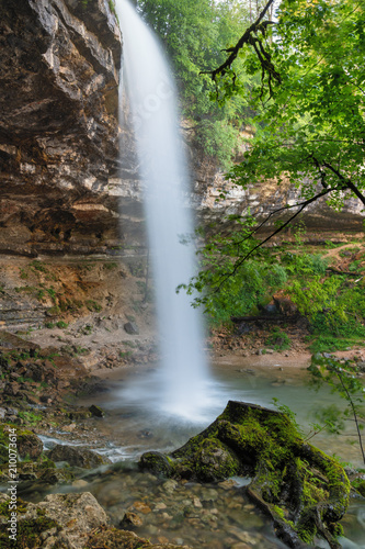 Keuken foto achterwand Watervallen French landscape - Jura. Saut Girard waterfall in the Jura mountains after heavy rain.