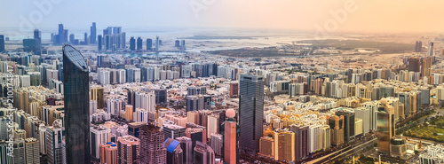 Panoramic sunset city skyline. Abu Dhabi