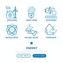 Energy Thin Line Icons Set: Gr...