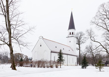 Sigulda Evangelic Lutheran Church.  Sigulda Is A Town In Latvia And The Church Is Pictured On A Winter Day.