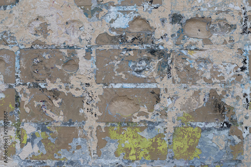 Canvas Prints Old dirty textured wall Background of old color vintage stonewall with peeling plaster texture. Abstract design element