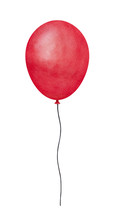 Bright Colorful Red Flying Balloon Illustration. One Single Object. Hand Drawn Watercolour Graphic Painting On White Background, Cut Out Clip Art. For Party, Holidays And Special Occasions Decor.