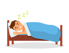 A Baby Boy Sleeps A Sweet Dream In His Bed Under A Blanket. Isolated Vector Illustration In A Flat Cartoon Style