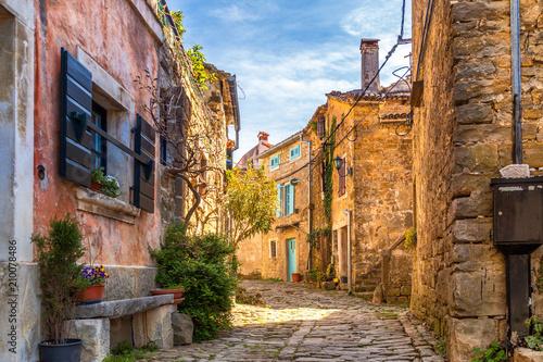 Antyczni kolorowi domy na kamiennej ulicie w Groznjan wiosce, Istria, Chorwacja, Europa.
