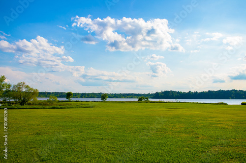 Beautiful Blue Sky and Vibrant Lake View Fototapeta