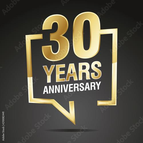 Fotografia  30 Years Anniversary gold white black logo icon