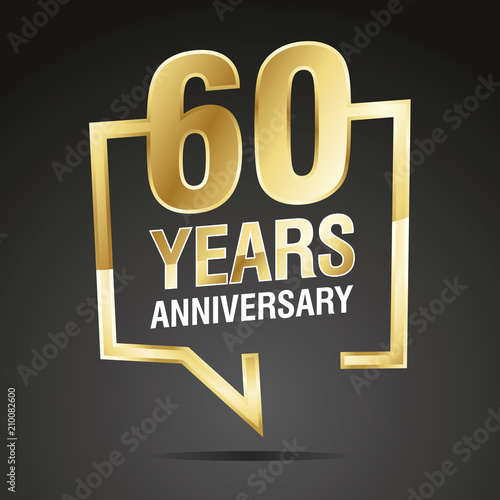 Платно  60 Years Anniversary gold white black logo icon