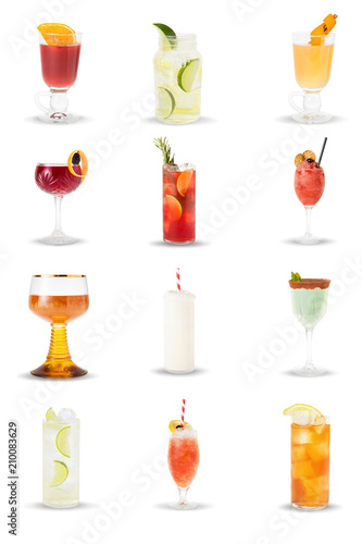 Láminas  alcoholic and non-alcoholic drinks, cocktails in glasses on a white background