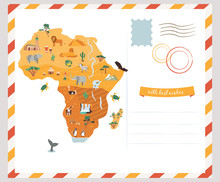 Bright Postcard With Map Of Africa