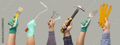 worker tools on hands