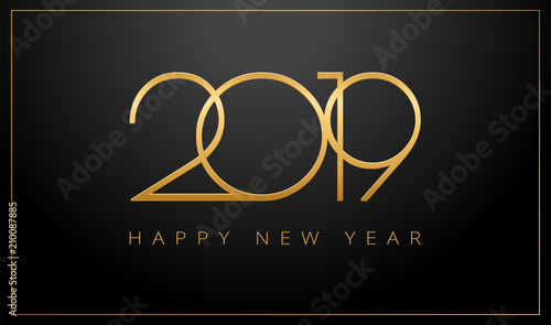 Fotografie, Obraz  2019 Happy New Year greeting card gold and black background - vector