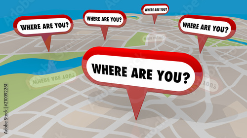 Canvas Print Where Are You Map Pins Locations Lost 3d Render Illustration