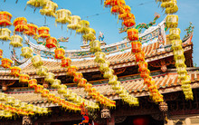 Colorful Lanterns At Lukang Mazu Temple In Lukang, Taiwan