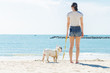 french bulldog and women stand on the beach