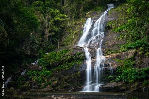 Tuinposter Watervallen Famous Waterfall in Tijuca National Forest, in Rio de Janeiro, Brazil