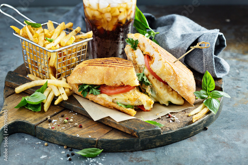Staande foto Snack Panini sandwich with chicken and cheese