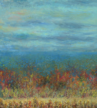 Autumn Forest Leaving Into The Distance. View From Above. Cloudy Sky. In The Foreground There Is A Small Meadow. Light Haze. Oil Painting On Wood.