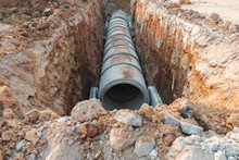 Row Of Concrete Drainage Pipe ...