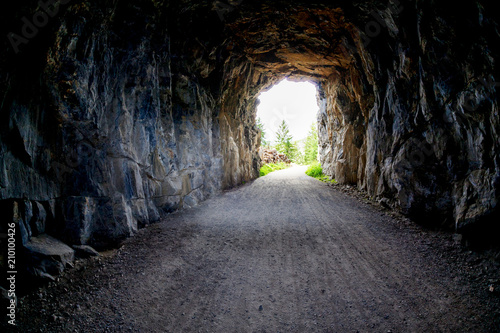 Light at the end of the Tunnel at Myra Canyon in Kelowna, BC, Canada Fototapeta