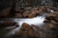 Soft Flowing Water In Sierra Mountain Stream - Long Exposure Landscape On The Tuolumne River, California