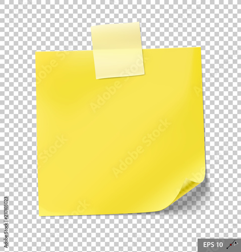 note papers with tape on transparent background vector illustration