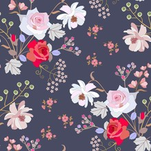 Trendy Seamless Floral Pattern With Bouquets Of Roses, Spiraea Branchs, Bell, Cosmos And Umbrella Flowers, Bird Cherry Berries On Dark Lilac Background In Vector.