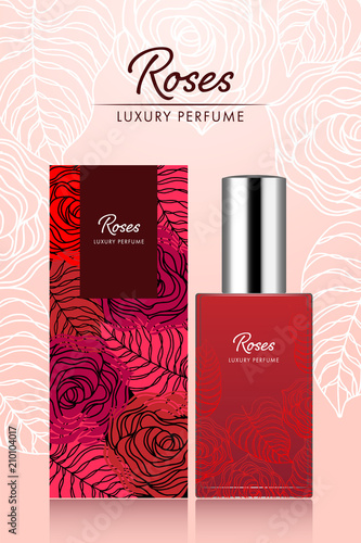 Perfume box and bottle template sweet roses flower and leaf design art abstract in red color vector illustration Wall mural