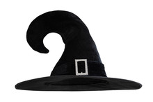 Halloween Witch Wizard's Hat In Black Isolated On White Background With Clipping Path For Autumn Seasonal Holiday Costume...
