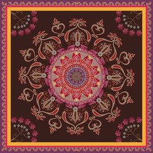 Square Carpet With Oriental Ornament On Dark Brown Background In Vector. Ethnic Motives.