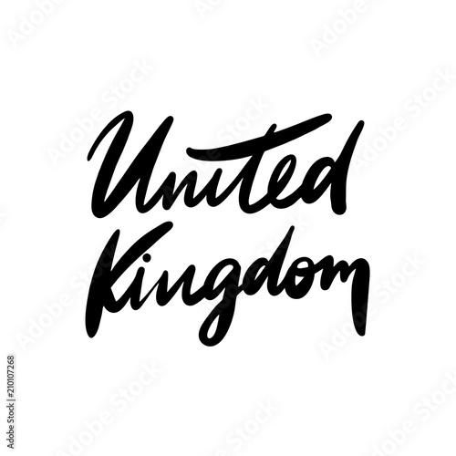 Poster  United Kingdom brush vector lettering black ink.