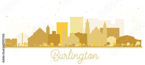 Fototapeta  Burlington Iowa skyline Golden silhouette.