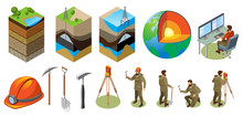 Earth Exploration Isometric Ic...