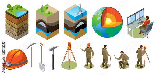 Fototapeta Earth Exploration Isometric Icons