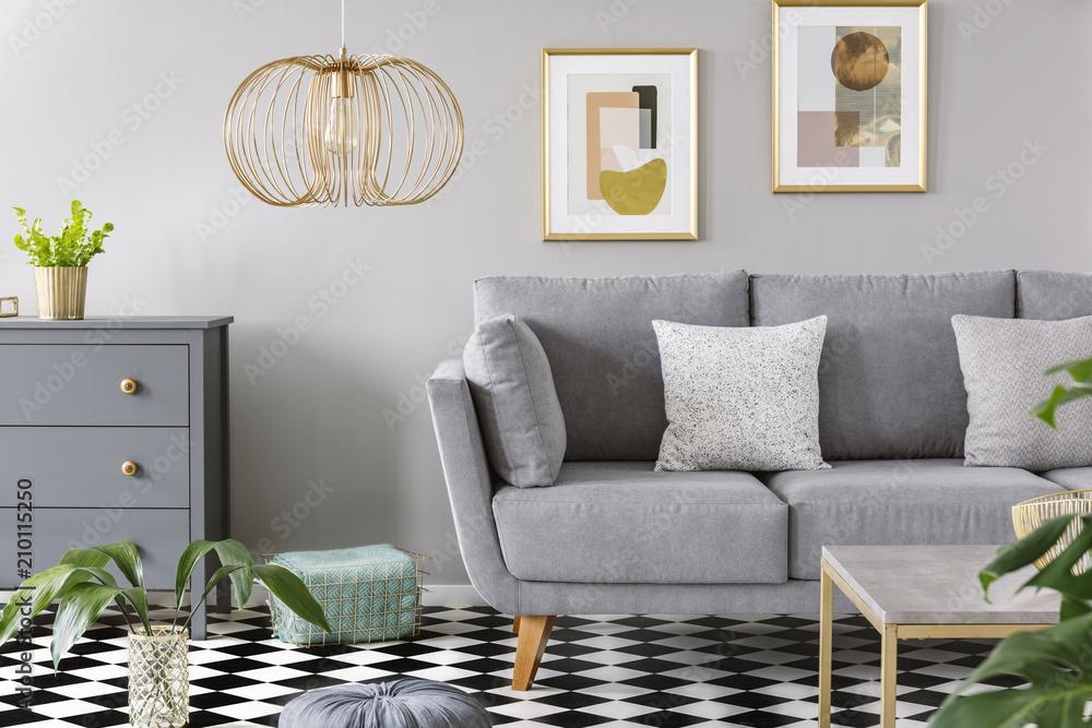 Zwei Kopierten Die Kissen Die Auf Das Graue Sofa Gesetzt Wurden