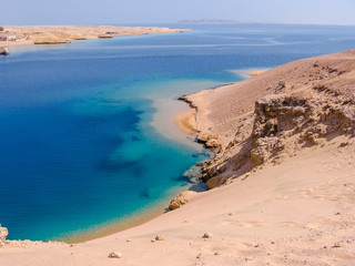 Aerial view of Ras Mohammed National Park with its clear and transparent waters and its famous reef, Sharm el Sheik, Sinai Peninsula, Egypt.