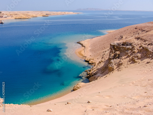 Papiers peints Egypte Aerial view of Ras Mohammed National Park with its clear and transparent waters and its famous reef, Sharm el Sheik, Sinai Peninsula, Egypt.