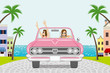 Two women driving a Pink convertible in summer nature - seaside town