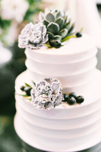 Elegant White Wedding Cake With Flowers, Blueberries And Succulents