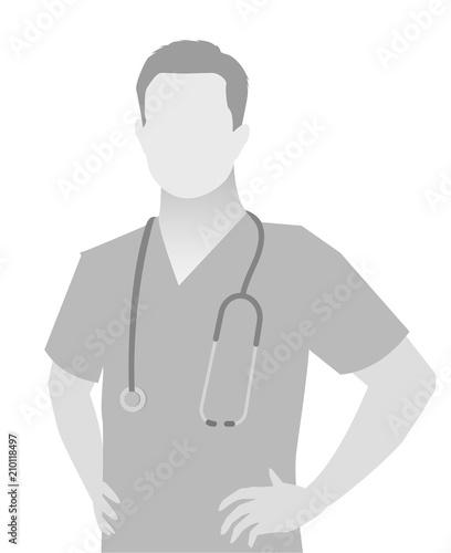 Default placeholder doctor half-length portrait Tablou Canvas