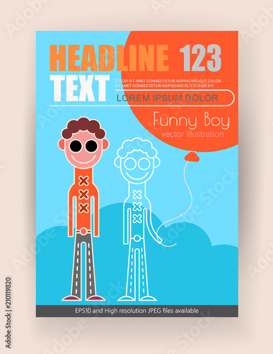 Tuinposter Abstractie Art Funny Boy with balloon vector poster design