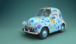 Cartoon car with flower print